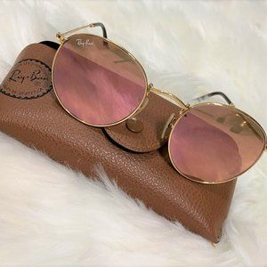 Ray Ban Round Flash Lenses RB3447 Pink, Gold